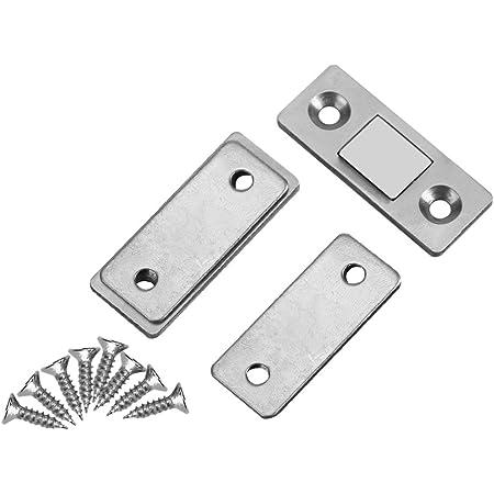 2Pcs Arrêt de Porte Serre-porte Capture ultra Magnétique avec des vis serrure verrouillage pour Cabinet armoire placard meubles de maison