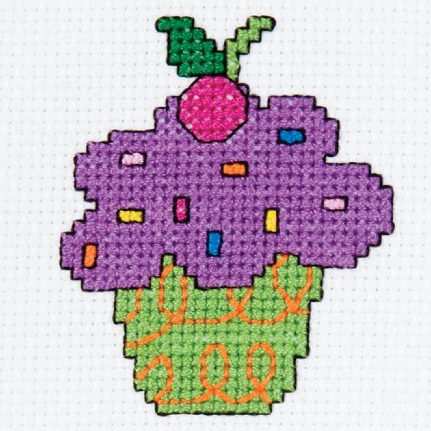 Bucilla My 1st Stitch Mini Counted Cross Stitch Kit, 45451 Cupcake
