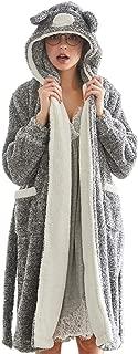 Belgius Women Fleece Robe Flannel Bathrobe Bunny Hoodie Self-Belt Winter Sleepwear