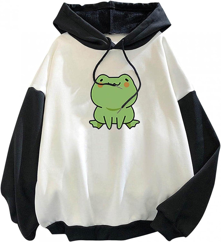 Bosanter Hoodies for Teen Girls Aesthetic Anime, Casual Frog Hoodie Sweatshirts Women Splice Long Sleeve Shirts Tops