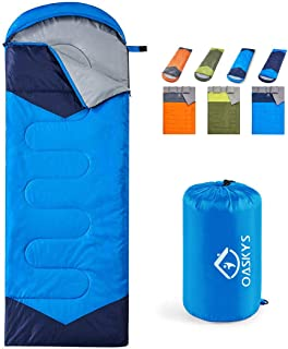 oaskys Camping Sleeping Bag - 3 Season Warm & Cool Weather - Summer, Spring, Fall, Lightweight, Waterproof for Adults & Ki...