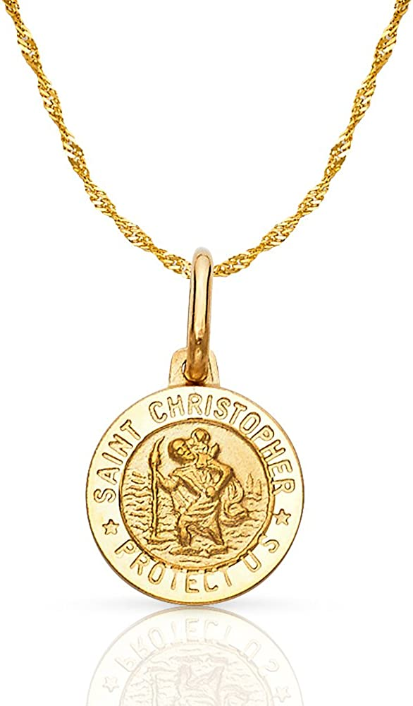 14K Yellow Gold St. Christopher Protect Us Charm Pendant with 0.9mm Singapore Chain Necklace