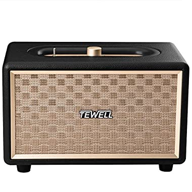 Bluetooth Speakers, TEWELL Retrorock AC Powered Vintage Speaker with 24W Audio Output (Brown)