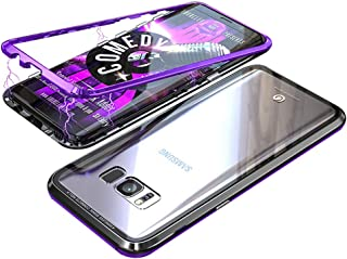 UMTITI Compatible Samsung Galaxy S8 Case, Magnetic Clear Tempered Glass Cover with a Screen Protector (Black-Purple)