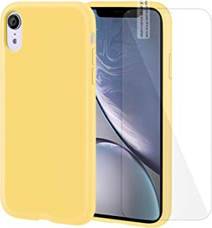 iPhone XR Case Silicone Case with Screen Protector Anti-Slip Shockproof Anti-Scratch iPhone XR Protective Case for iPhone XR 6.1 Inch (Yellow)