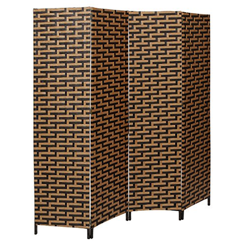Decorative Freestanding Black & Brown Woven Design 4 Panel Wood Privacy Room Divider Folding Screen