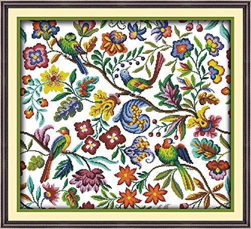 Arione Cross Stitch Kits voor volwassenen beginners gestempeld bedrukt patroon geen tellen borduurwerk set kunst en ambachtelijke vogels Twitter 59 x 55 cm.