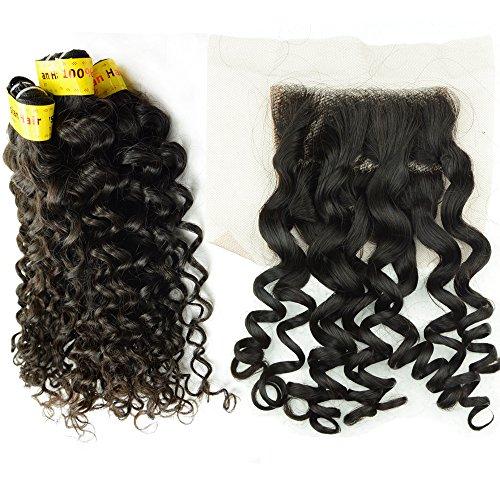 Noble Reine 3 cheveux Malaisie trame de cheveux avec fermeture 1 top en dentelle 10 un tissage French bouclés cheveux Extension de cheveux humains Vierge Noir 4 pièces Lot