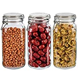 Large 68oz Glass Canisters with Airtight Lids, Glass Storage Jars with Lids, Glass Jar Set of 3, Clear Storage Canister with Lid for Kitchen, Preserving, Decorating, Canning Jar, Dry Food Storage