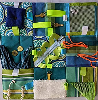 """Fidget Quilt Handmade in the U.S.A for People with Memory Loss Alzheimer s Blanket and Dementia Toy Green and Blue Size 21"""" x 21"""""""