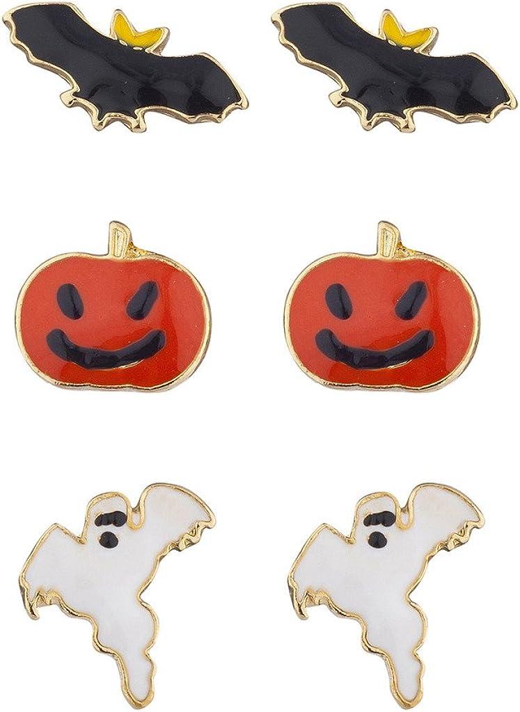 Lux Accessories Halloween Festive Bat Pumpkin Ghost Stud Post Earring Set (3prs)