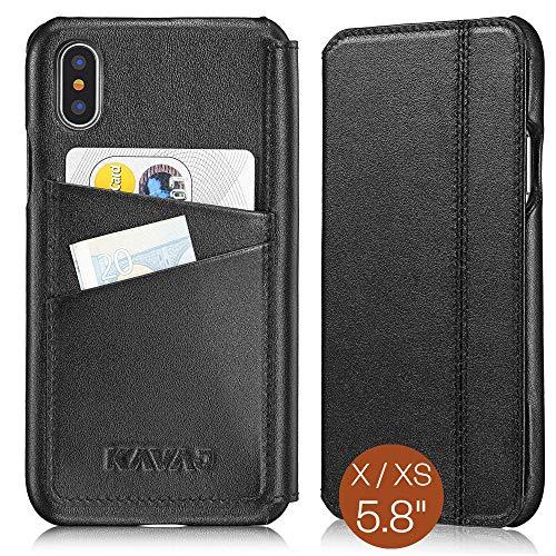 KAVAJ Lederhülle Dallas geeignet für Apple iPhone X/XS Tasche Leder Schwarz, Unterstützt kabelloses Laden (Qi), Hülle Ledertasche mit Kartenfach Echtleder Schutzhülle Hülle Lederhülle Handyhülle