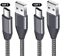 USB C Cable 10FT 2 Pack USB A 2.0 to Type C Charger Cord Nylon Braided USB-C Charging Cables Fit Samsung Galaxy S10 S9 S8 Plus S9+ S8+ S10e Note 10+ 10 9 8 LG V30 V20 G6 G5 Pixel 2 XL Moto Z2 Nintendo