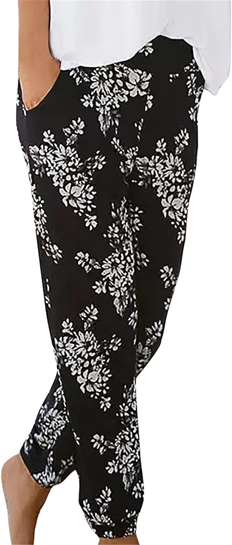 USYFAKGH Summer Pants for Women, Cotton Pockets Printed Wide Leg Drawstring Elastic Waist Capris Crop Pants