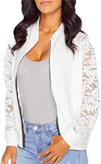 Womens Long Sleeve Lace Floral Short Jacket Casual Bomber Sports Coats