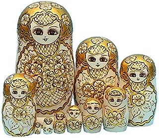 LK King&Light 10pcs Golden of Plum Pattern Russian Nesting Dolls Matryoshka Wooden Toys