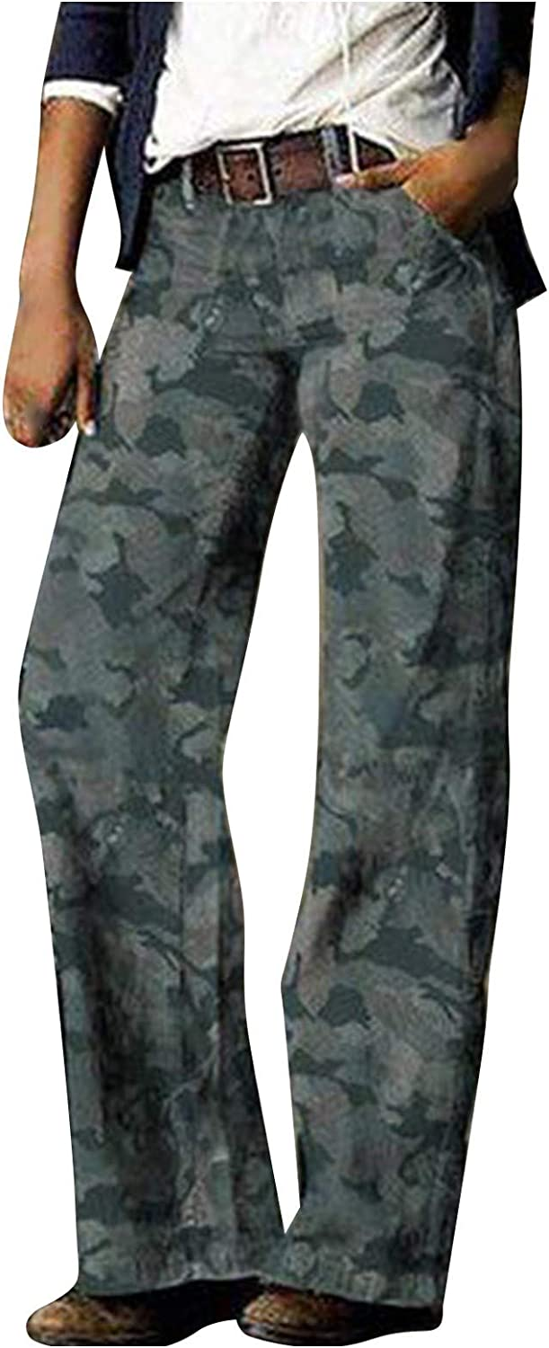 Hesxuno Womens Comfy Fashion Printed Casual Trousers Pants Straight Loose Fit Jeans