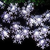 SPLOcolor Solar Christmas String Lights Outdoor 20ft 30 LEDs Waterproof 8 Modes Solar Snowflake Powered Fairy String Lights Patio Lights Indoor Outdoor Lighting for Patio Holiday Party (White)