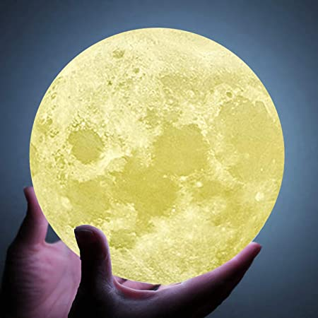 7.1inch Moon Lamp for bedrooms, Extra Large 9 inch,10 inch and11inch 3D Moon Lamp with Stand, The Moon Light with LED 16 Colors, Touch Control and Remote Control.