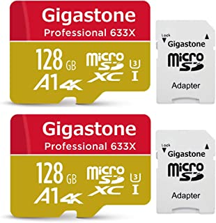 Gigastone 128GB 2-Pack Micro SD Card, Professional 4K Ultra HD, High Speed 4K UHD Gaming, Micro SDXC UHS-I U3 C10 Class 10 Memory Card with Adapter