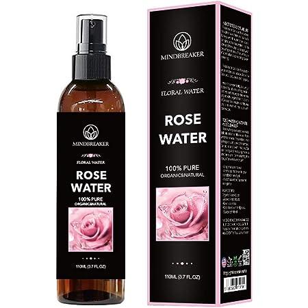 Agua de rosas orgánica: grado terapéutico, puro, búlgaro, sin hexano, sin alcohol: lo mejor para tóner facial, piel, cabello, cuidado del cuerpo, spray de viaje: rociador de niebla fina (110 ml)
