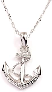 FC Rhinestones White Gold Plated Anchor Pendant Charm Necklace