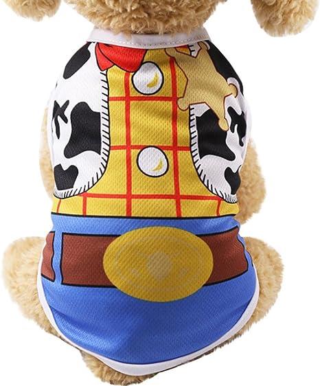Ropa del Chaleco del Perro de Mascota, SunGren Camisa del Chaleco del Gato del Perrito Correa Falsa para Mascotas (XS, Amarillo)