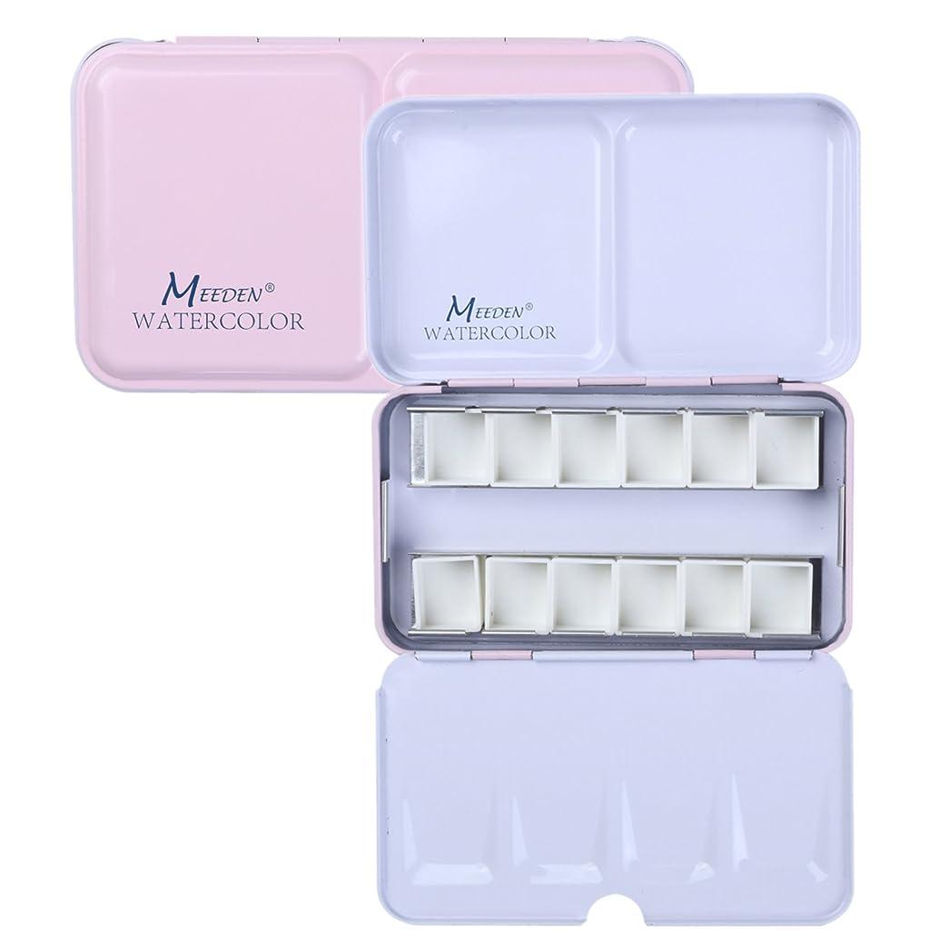 MEEDEN Empty Watercolor Tins Box Palette Paint Case, Small Pink Tin with 12 Pcs Half Pans ausjfyrc17788