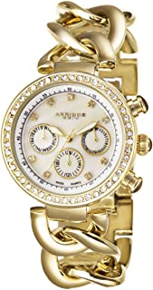Akribos XXIV Women's Swiss Quartz Multifunction Date Crystal Watch - White Mother Of Pearl Dial - Luminius Hands - Gold Jewlerry Chain Bracelet Link Strap - AK640