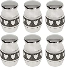 Prettyia Pack of 6 Heart Pattern Cremation Urn Ash Holder Memorial Ash Container Pendant Keepsake Openable Jar
