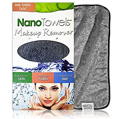 Nano Towel Makeup Remover Face Wash Cloth. Remove Cosmetics FAST and Chemical Free. Wipes Away Facial Dirt and Oil Like An Eraser. Great for Sensitive Skin, Acne, Exfoliating, Mascara, etc. 7 x 16
