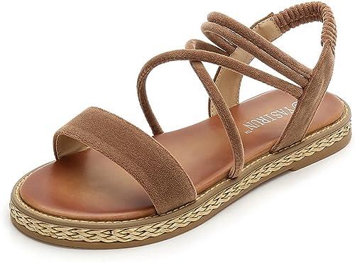 Sandales de Plage Mode Femmes Chaussures Sangles Décontracté élastique Confort Bout Ouvert Rond Tongs