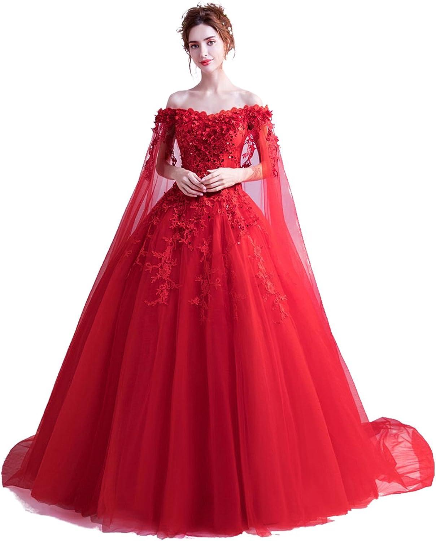 Epinkbridal Women's Off Shoulder Ball Gown Prom Evening Dresses Long Formal Gown Wedding Dress