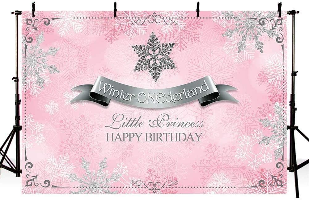 New Winter Wonderland Photography Studio Backgrounds Party Decorations Snowflakes Pink and Silver Princess Birthday Banner Photo Backdrops 7X5ft