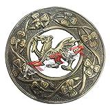 Aar Scottish Kilt - Broche para mosca con diseño de dragón galés, acabado cromado envejecido, 7 cm (antiguo)