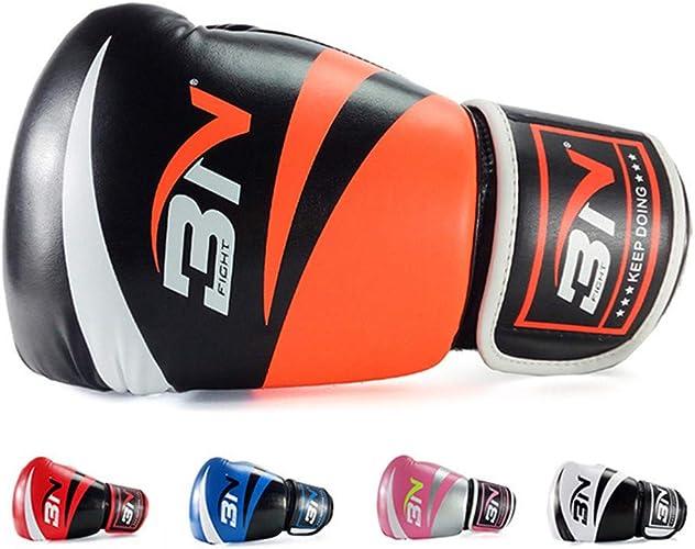 TTXLY Gants de Boxe 8 oz 10 oz 12 oz Homme et Femme Professionnels Sanda Muay Cuir Sac de Boxe Sparbague Moufles Kickboxing Combat,Orange,8oz