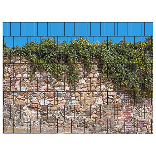 PerfectHD Zaunsichtschutz | 30 Motive | Sichtschutzstreifen für Doppelstabmattenzaun | Windschutz Sonnenschutz Blickdicht | 2,50m x 1,80m | 19cm | 9 Streifen | Kreta