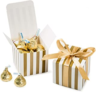 AWELL Small Candy Box Bulk 2x2x2 inch with Ribbon, Gold White Strips Box Party Favors Pack of 50