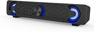 PC スピーカー USB給電式 パソコン用 ゲーミングスピーカー 小型 サウンドバー 3.5mm入力対応 LEDライト付き 10W 高音質 大音量