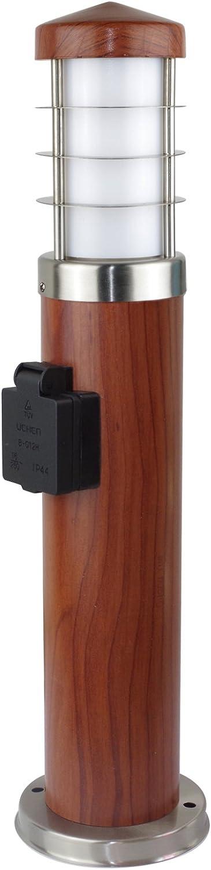 MD-DEAL 2er Set Stehleuchte Holzoptik rund Auenlampe Wegeleuchte Gartenlampe Lampe 450mm mit Steckdose