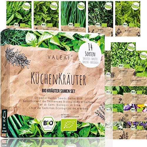 BIO Kräuter Samen Set - 14 Sorten Kräutersamen aus biologischem Anbau, samenfestes Bio Saatgut, Küchenkräuter Set für Küche, Balkon und Garten, 14er Pflanzen Samen Set