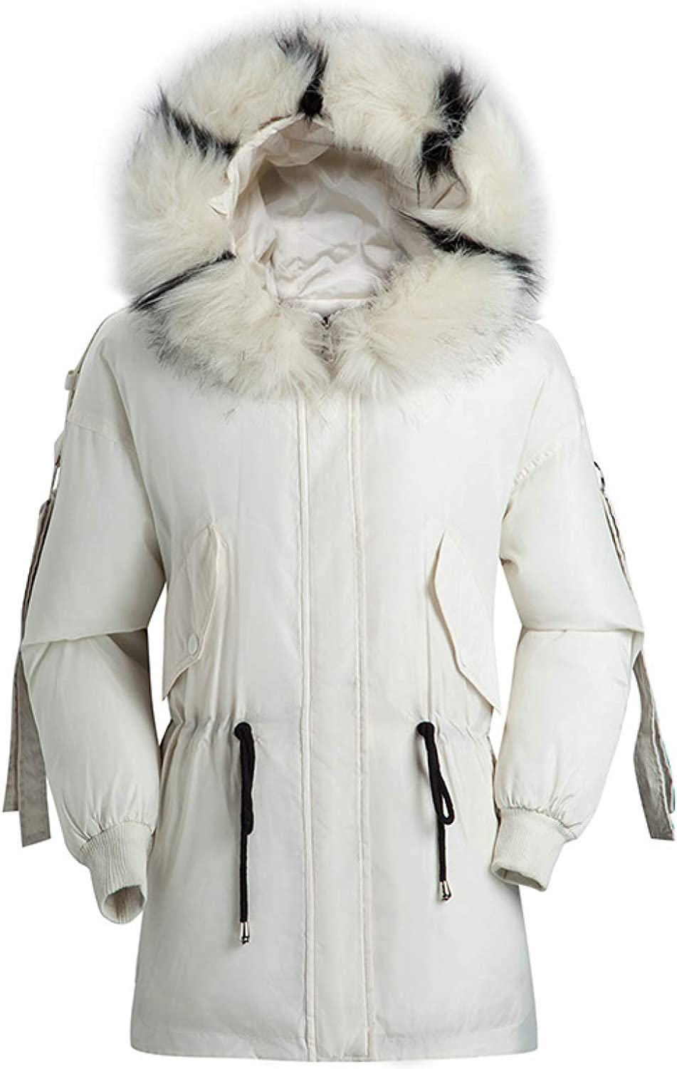 Women's Cotton Filling Quilted Jacket Women's Faux Fur Trim Hood Outerwear Jacket with Pocket