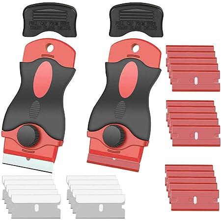 Gebildet 2pcs Raspador de Cuchillas de Afeitar con 10pcs Cuchillas de Acero Inoxidable + 15pcs de Cuchillas de Plástico para Limpiar Calcomanías de Pared/Adhesivo para Azulejos/Automóvil