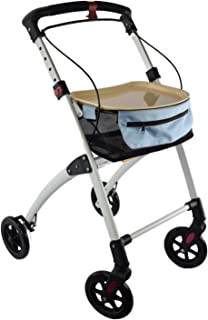 Days Breeze White Indoor 4 Wheel Rollator, Includes Basket and Tray, Assistive Walking..
