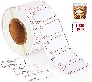 1000 etiquetas de alimentos para congelador, etiquetas autoadhesivas de fecha 50 x 25 mm, extraíbles y impermeables, color blanco y rojo