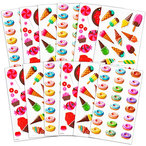 Candy Donuts Ice Cream Sticker Bundle - 12 Pack Ice Cream Party Decorations Food Stickers for Kids (Party Decorations Party Favors)