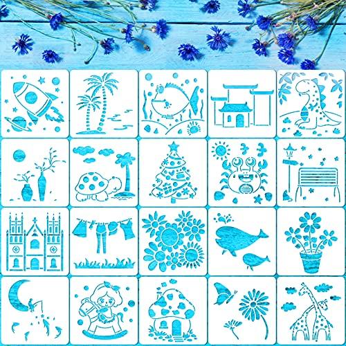 Qpout 20Pcs Plantillas De Plantillas De Naturaleza Para Niños, Plantillas De Pintura Reutilizables De 5 x 5'Para Manualidades De Tarjetas De Regalo De Fiesta De Dibujo De Bricolaje Para Niños