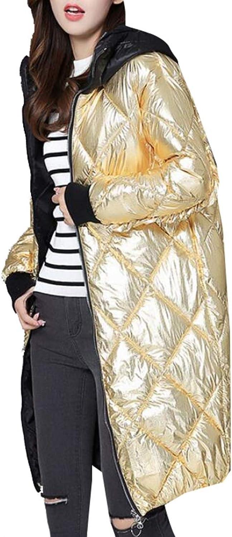Esast Women's Light Weight Metallic Hooded Packable MidLength Down Jacket