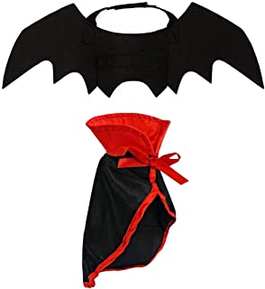 LAWOHO Halloween Pet Costume - Pet Bat Wings Witch Vampire Cosplay Combination Small Cats & Dogs Funny Holiday Decorations Clothing Black Halloween Bloody Zombie Party
