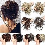 Hair Extensions XXL Haarteil Haargummi Hochsteckfrisuren Brautfrisuren VOLUMINÖS gewellter unordentlicher Dutt Scrunchie Bleichmittel Blond